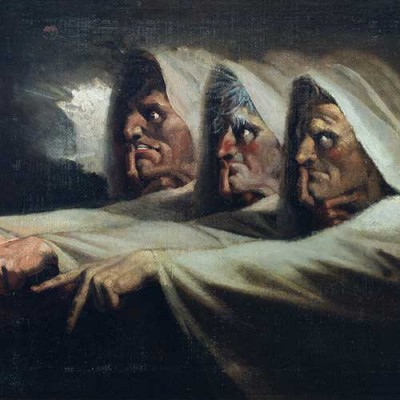 Henry Fuseli, The Three Witches, ca. 1785, oil on canvas, 24 ¾ x 30 ¼ in. (62.9 x 76.8 cm). Purchased with funds from The George R. and Patricia Geary Johnson British Art Acquisition Fund. The Huntington Library, Art Museum, and Botanical Gardens.