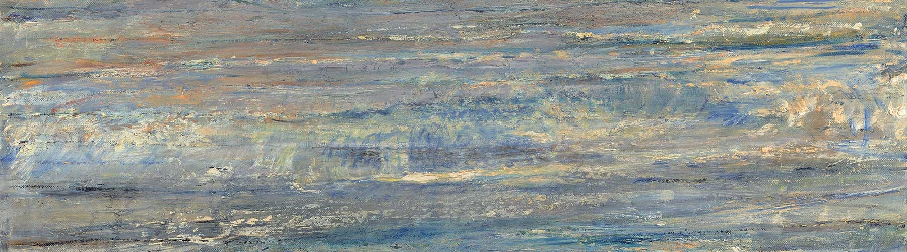 blueish green oil painting of a shoreline painted by artist Celia Paul