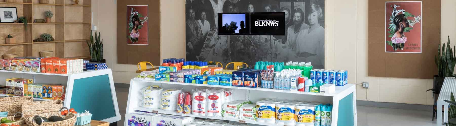 Kahlil Joseph, BLKNWS®, 2018—ongoing. Two-channel fugitive newscast. Made in L.A. 2020: a version. Installation view at Hank's Mini Market. Photo: Jeff McLane.