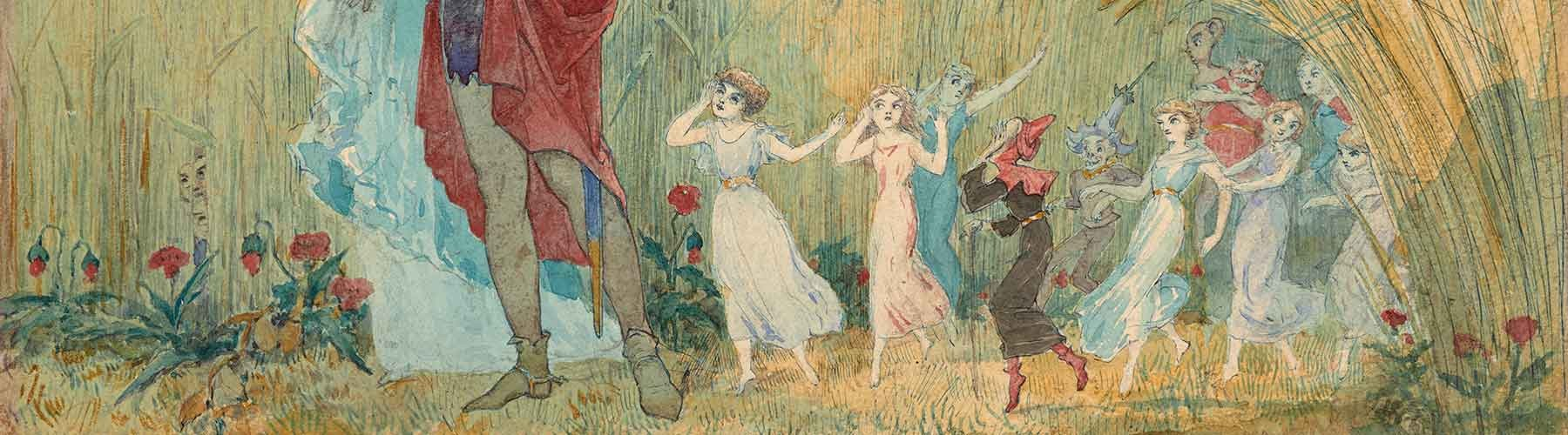 Watercolor of eavesdropping fairies