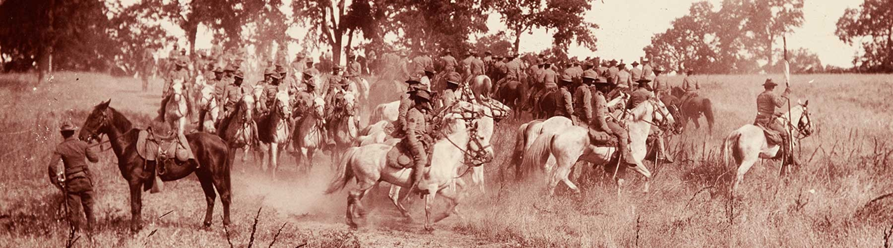 b/w photo of 9th Cavalry buffalo soldiers on horses