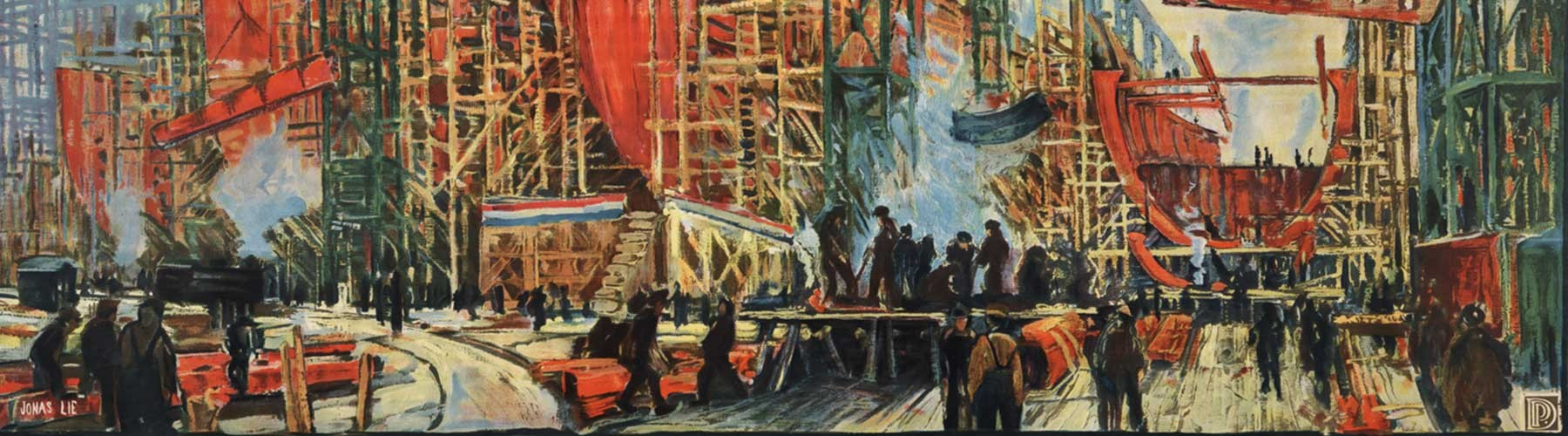 Oil painting called On The Job For Victory, ca. 1918, by Jonas Lie