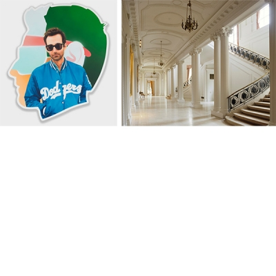 Left to right: Alex Israel, Self Portrait (Dodgers), 2014‒2015, acrylic and bondo on fiberglass, 96 × 84 × 4 in. Collection of the artist. Photo: Joshua White; Grand hallway of the Huntington Art Gallery. Photo: Tim Street-Porter.