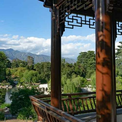 View from the Stargazing Tower, one of the new pavilions in the expanded Chinese Garden. Photo by Aric Allen. The Huntington Library, Art Museum, and Botanical Gardens