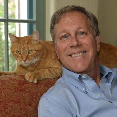 Portrait of Dana Gioia with his cat