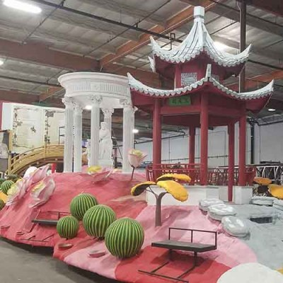 """Cultivating Curiosity"" float in progress. Photo: Phoenix Decorating"