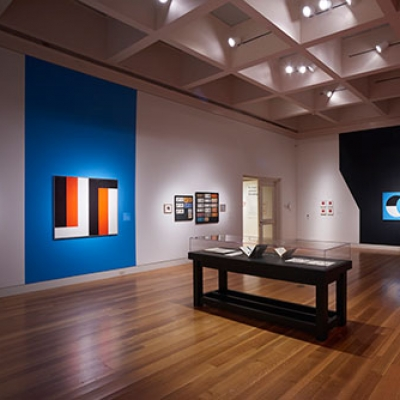 """Installation view of """"Frederick Hammersley: To Paint without Thinking"""" at The Huntington Library, Art Collections, and Botanical Gardens."""