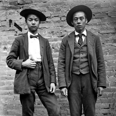 Unknown photographer, Two Chinese men in Western suits, Old Chinatown, Los Angeles, ca. 1900.