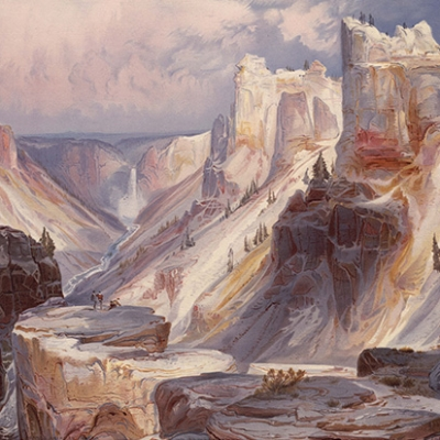 """Thomas Moran, """"Grand Canyon of the Yellowstone,"""" chromolithographic reproduction of a watercolor sketch, as published in Ferdinand V. Hayden, The Yellowstone National Park, and the mountain regions of portions of Idaho, Nevada, Colorado and Utah. Boston, 1876. The Huntington Library, Art Collections, and Botanical Gardens."""