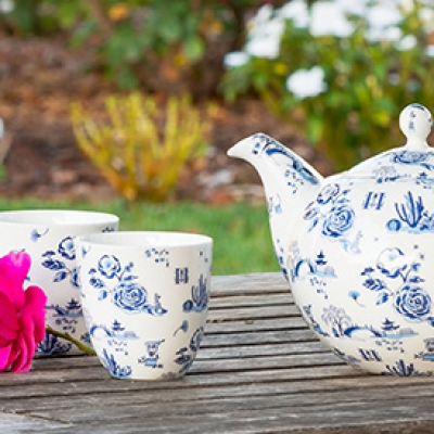 Garden Toile Tea Set  $150. Design by artist Mariko Jesse, using icons from The Huntington's gardens.