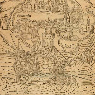 Detail of ship from Thomas More Utopia