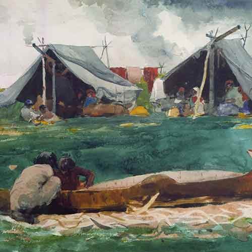 Indians making a canoe