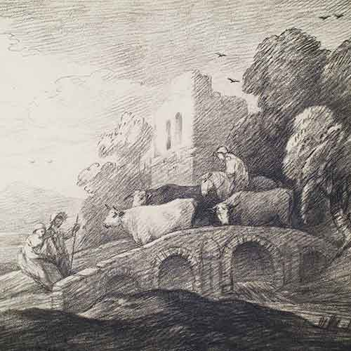 Etching of cattle walking over bridge