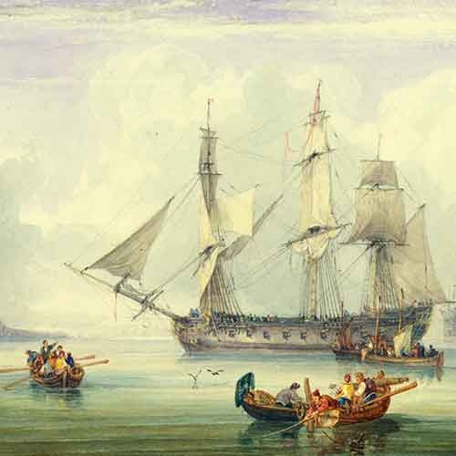 Watercolor of sailors and ship