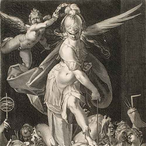 Engraving of Triumph of Wisdom over Ignorance