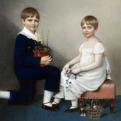 Chalk drawing of Charles Darwin and his sister, Catherine