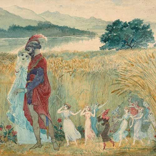 The Eavesdroppers, by Charles Altamont Doyle, a painting of a prince and princess in a field with fairies at their feet