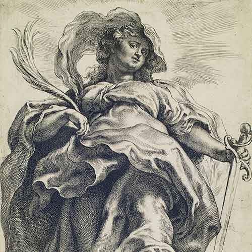Etching of St. Catherine by Peter Paul Rubens