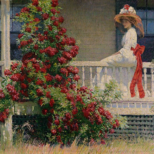 Painting with a young lady and climbing red roses