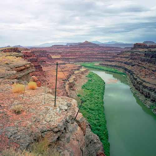 Karen Halverson, Shafer Trail, near Moab, Utah from the Downstream series, 1994–95. Archival pigment print; 24 x 20 in. Courtesy of the Artist.