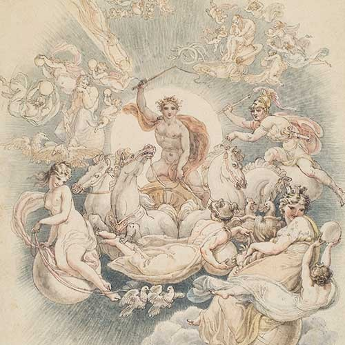 Edward Francis Burney (1760-1848), Apollo and his Chariot, early 19th century, pen and watercolor. The Huntington Library, Art Collections, and Botanical Gardens.