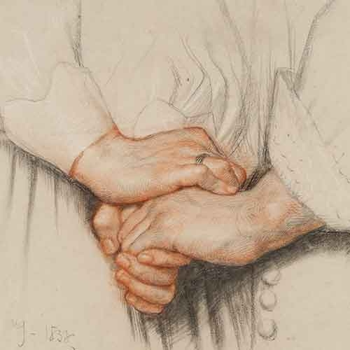 Drawing of clasping hands