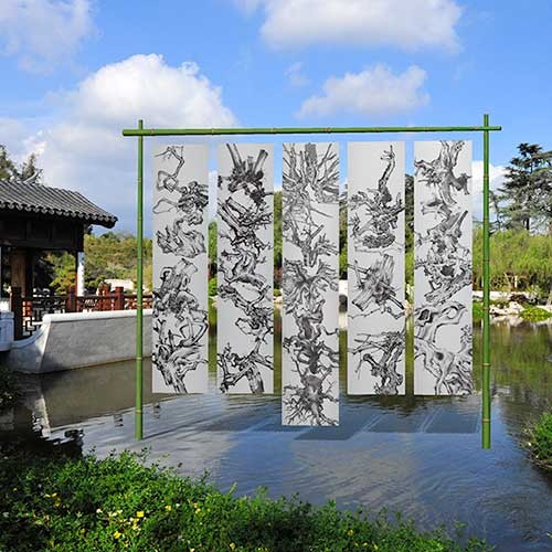 """Digital mockup of the installation """"An Offering to Roots"""" by Tang Qingnian, banners erected in the middle of the Chinese Garden lake"""