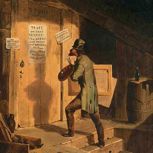 Painting of an artist reading papers on a studio door