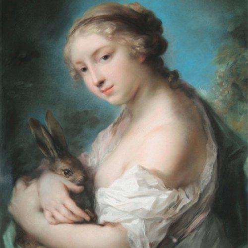 Painting of girl with rabbit