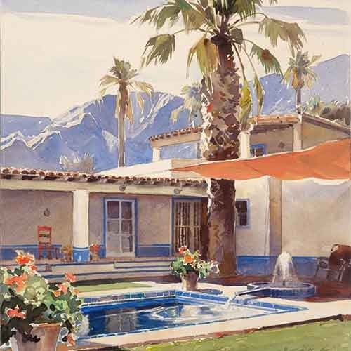 Watercolor painting of a house designed by Wallace Neff