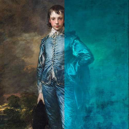 image of The Blue Boy painting with infrared light