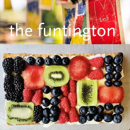 The Funtington logo and a fruit pizza