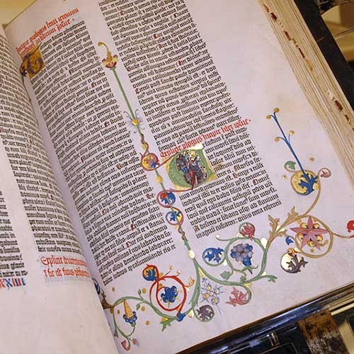 close up of Gutenberg Bible