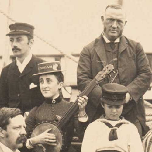 Detail of Lady Annie Brassey and family on deck of the Sunbeam