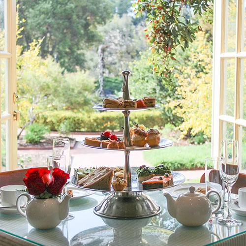 Table with afternoon tea spread