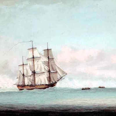 painting of a tall ship on the ocean