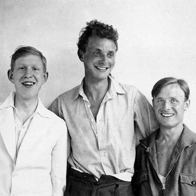 Photo of Stephen Spender, Christopher Isherwood, and W.H. Auden