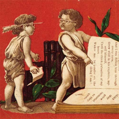 two cherubs reading a medical book