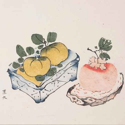 Chinese woodblock print of peaches