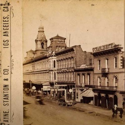 Sepia photo of Los Angeles in the 1880s