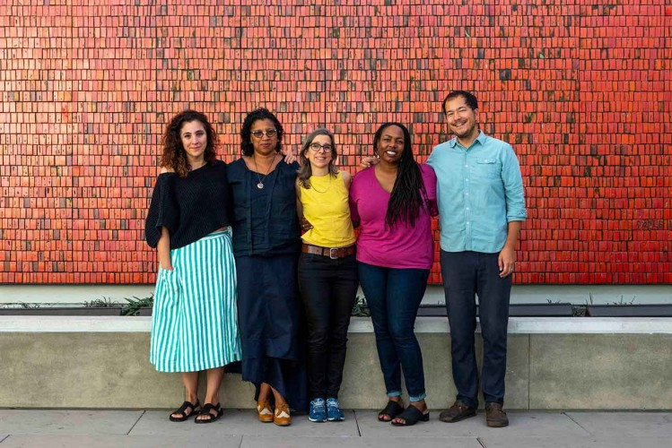 Beatriz Santiago Muñoz, Robin Coste Lewis, Nina Katchadourian, Dana Johnson, and Rosten Woo. Photo: Kate Lain. The Huntington Library, Art Museum, and Botanical Gardens.