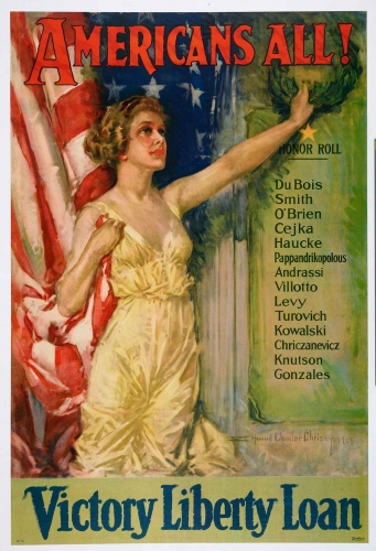 Howard Chandler Christy (1873–1952), Americans All! Victory Liberty Loan, 1919. Lithograph, Boston: Forbes, 29 15/16 x 19 7/8 in. The Huntington Library, Art Museum, and Botanical Gardens.