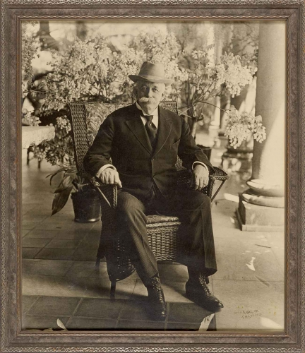 George R. Watson, Portrait of Henry E. Huntington on Loggia of San Marino Residence, April 1919; printed 1927. Gelatin silver print, 22 x 18 3/4 in. The Huntington Library, Art Museum, and Botanical Gardens.