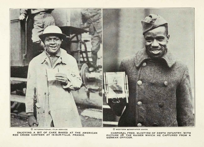 International Film Service and Western Newspaper Union, photographs from William Allison Sweeney (1851–1921), History of the American Negro in the Great World War: His Splendid Record in the Battle Zones of Europe, 1919. Chicago: Cuneo-Henneberry. The Huntington Library, Art Museum, and Botanical Gardens.