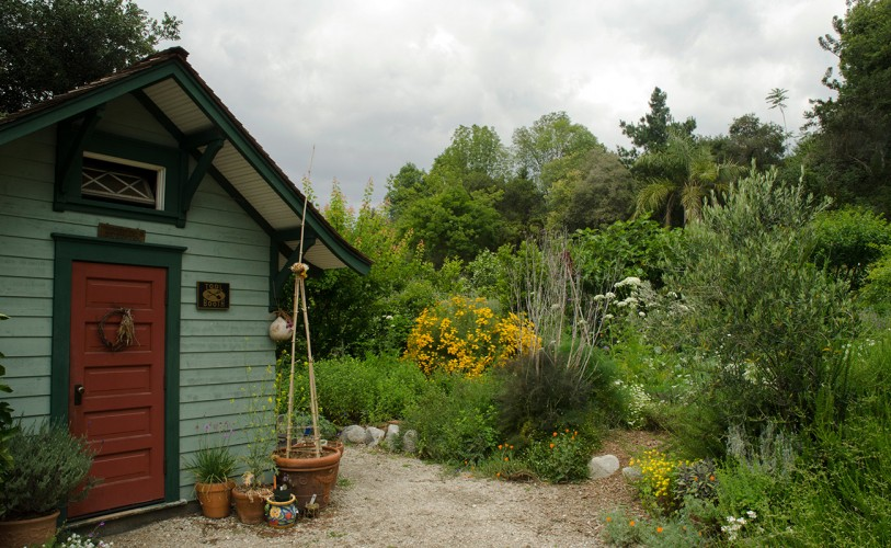 Several flowers surround the green Ranch Garden shed