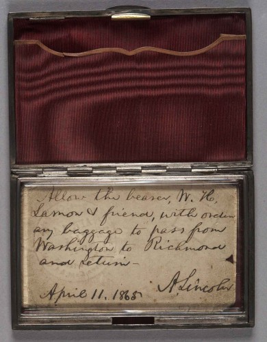 "Abraham Lincoln, ""Death Warrant"" pass issued to Lincoln's self-appointed bodyguard Ward H. Lamon, allowing him to travel while the President would be assassinated at Ford's Theatre, April 11, 1865. Ward Hill Lamon Papers. mssLN 2371"