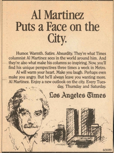 """Al Martinez Puts a Face on the City,"" newspaper ad from the Los Angeles Times, ca. 1970–75. Huntington Library, Art Collections, and Botanical Gardens."