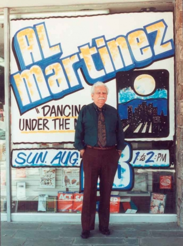 Al Martinez in front of store window advertising Dancing Under the Moon, 1992. Huntington Library, Art Collections, and Botanical Gardens.