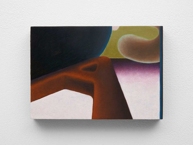 Alexandra Noel, A follows S, 2020. Oil and enamel on panel. 5 1/4 x 7 1/2 x 3/4 in. (13.3 x 19.1 x 1.9 cm). Courtesy of the artist and Bodega, New York.