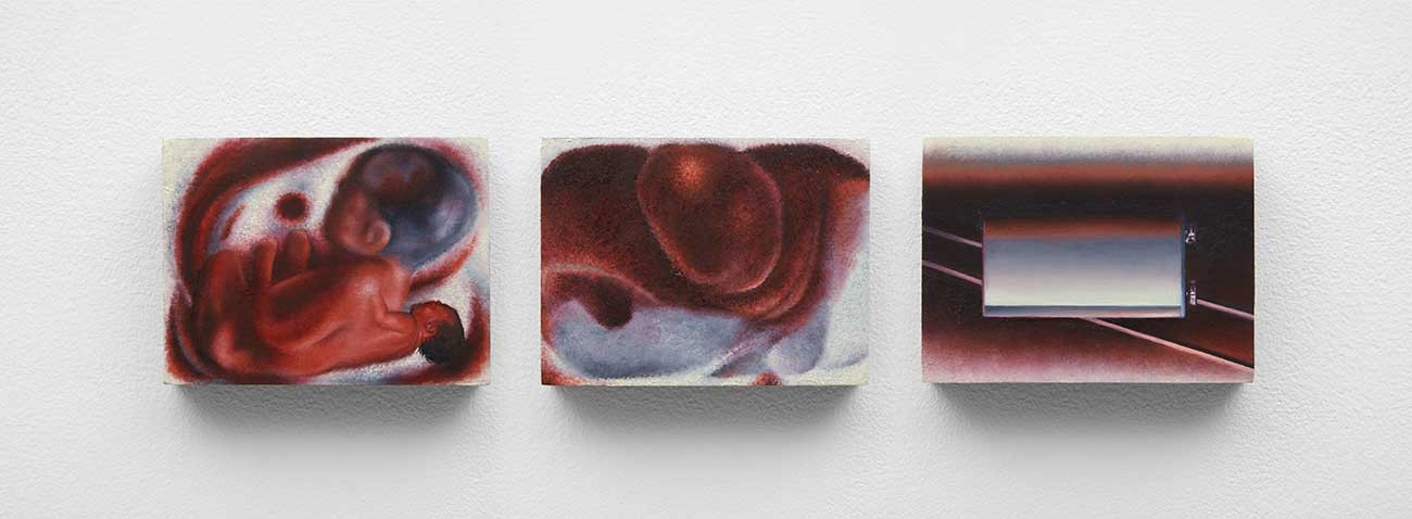 Alexandra Noel, Ifs eternally in red, 2020 (triptych). Oil and enamel on panel. Left: 3 x 4 3/4 in. (7.6 x 10.2 x 1.9 cm). Center: 3 x 4 x 3/4 in. (7.6 x 10.2 x 1.9 cm). Right: 3 x 4 x 3/4 in. (7.6 x 10.2 x 1.9 cm). Courtesy of the artist and Bodega, New York.